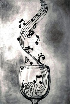 Theme musique, sound of music, music is life, music and art, music notes ar Music Drawings, Pencil Drawings, Art Drawings, Music Artwork, Music Painting, Painting Canvas, Heart Pencil Drawing, Pencil Shading, Musik Wallpaper