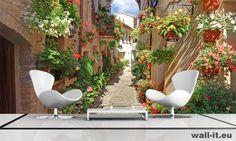 Fototapeta do salonu urocza uliczka z kwiatami. http://www.wall-it.eu/product/photowallpapers/panoramy/fototapeta%20panoramiczna%20uliczka.jpg #fototapeta #fototapety #mural #murals #aranzacja #flowers #kwiaty #living #room