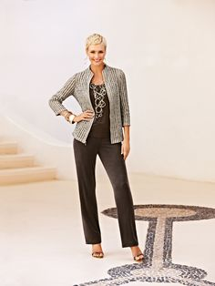 Travelers Wrinkle-Free Lace Jacket and No-Tummy Pant #chicos