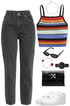 Discover outfit ideas for made with the shoplook outfit maker. How to wear ideas for Nike Air Force 1 and Rainbow Stripe Knit Cami Style Outfits, Teen Fashion Outfits, Swag Outfits, Retro Outfits, Outfits For Teens, Look Fashion, Trendy Outfits, Cute Comfy Outfits, Cool Outfits