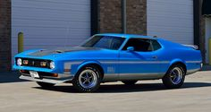 1971 Ford Mustang Mach 1 Fastback SCJ HP, Drag Pack presented as lot at Indianapolis, IN 1971 Mustang Mach 1, Ford Mustang 2016, Blue Mustang, Mustang Cars, Ford Mustangs, Mustang Fastback, Trailers, 4x4, Classic Mustang