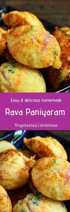 Rava paniyaram recipe with step wise photos. Paniayaram is a delicious south Indian breakfast usually made with left over idli batter. Here in this instant rava paniyaram recipe semolina is used. You can serve this Indian Food Recipes, My Recipes, Low Carb Recipes, Real Food Recipes, Vegetarian Recipes, Healthy Recipes, Ethnic Recipes, Appetizer Recipes, Snack Recipes