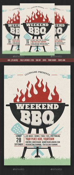 Buy Weekend/Sunday BBQ Flyer by on GraphicRiver. Invitation Fonts, Invitation Design, Party Invitations, Flyer And Poster Design, Flyer Design, Church Events, Cool Typography, Church Design, Cool Business Cards