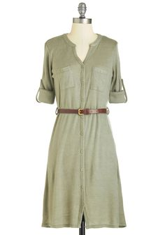 T.A.-Okay Dress in Sage - Green, Solid, Casual, Shirt Dress, Long Sleeve, Fall, Winter, Knit, Mid-length Here's another dress idea ladies!