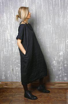 Купить Льняное платье - черное платье, льняное платье, черный цвет, черный, шик