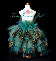 Turquoise Peacock Feather Dress | peacock feather bustle tutu this peacock inspired bustle tutu is ...