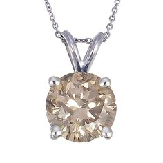 """14k White Gold Champagne Diamond Solitaire Pendant Necklace (1/2cttw, I2-I3 Clarity), 18"""" *** Want additional info? Click on the image."""
