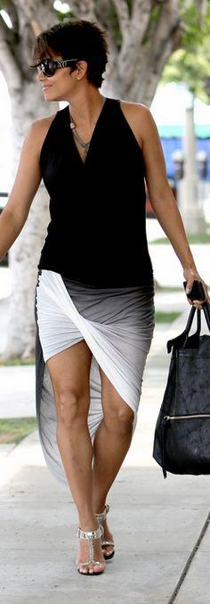 Halle Berry: Purse – Foley + Corinna  Dress – Helmut Lang  Sunglasses – Yves Saint Laurent