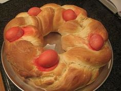 A mix of old and new traditions, this Easter bread incorporates eggs and a lemon sugar glaze. Find more Easter recipes at PBS Food.
