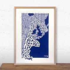 Map of UK Shipping Areas, Ursula Hitz – CultureLabel Unusual Presents, Area Map, Ursula, Screen Printing, Graphic Art, Unique Gifts, Wildlife, Typography, Irish Sea