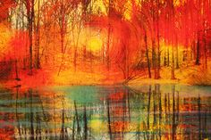 Art Autumn End of the day16x20 inches by dahliahousestudios