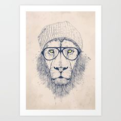 Cool lion Art Print by Balazs Solti. Worldwide shipping available at Society6.com. Just one of millions of high quality products available.