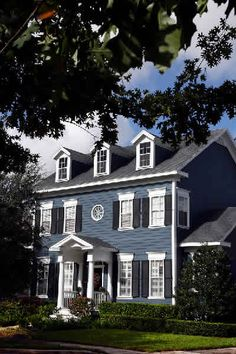 New England Colonial Blue Exterior, inspiration for front door portico on our teeny version of a blue colonial