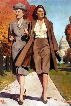Vintage Fashion: I would totally wear something like this to the office. Awesome pic from the 40s.