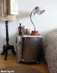 Washing Machine Drum turned Bedside table! Love this :)