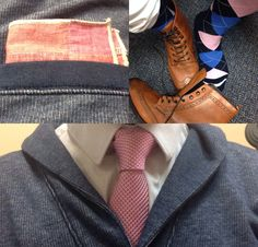 Pinterest exclusive look. Johnston & Murphy wingtip boots and Banana Republic Socks. Express pink tie and 1MX dress shirt. GAP cardigan. Suited Man shades of pink pocketsquare. Styled by #DMNCRSS www.dominicross.net