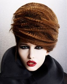 Long Brown straight crimped coloured sculptured beehive updo womens avant-garde hairstyles for women