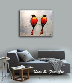 Original Abstract Birds Painting.Palette by NataSgallery on Etsy