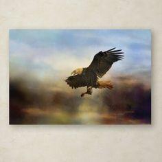 Trademark Art 'Dramatic Entrance' Graphic Art Print on Wrapped Canvas Size: Canvas Fabric, Canvas Art, Art Themes, Wild Birds, Artwork Prints, Canvas Size, Bald Eagle, Wrapped Canvas, Graphic Art