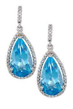 Diamond & Blue Topaz Teardrop Earrings. Very pretty and in my fav color, blue!