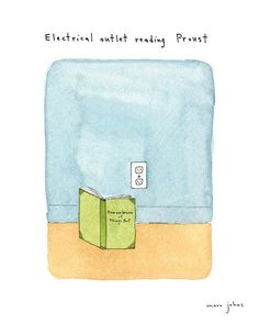 electrical outlet reading Proust - Signed Print