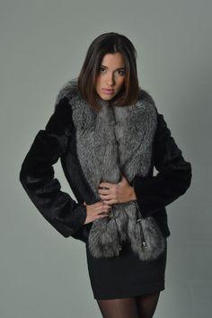 Luxury gift/ Black Mink Fur Coat Silver Fox Fur by skffurs on Etsy