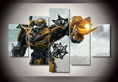 Style Your Home Today With This Amazing 5 Panel Transformers Bumblebee Painting Wall Art Canvas For $99.00  Discover more canvas selection here http://www.octotreasures.com  If you want to create a customized canvas by printing your own pictures or photos, please contact us.