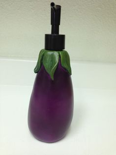Eggplant Kitchen Soap Dispenser Lotion Pump Vegetable Decor Eggplant Decor Handmade