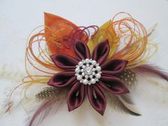 Marsala Peacock Wedding Hair Fascinator by NakedOrchidGarters