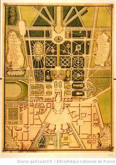 Carte du château & jardin de Versailles. Plan dessiné par P. Prieur, 1750