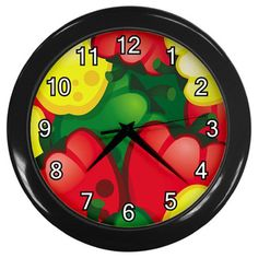 Bell Peppers Pattern Plastic Black Frame Battery Novelty Kitchen Wall Clock #CustomMade #Novelty #clock #kitchen #peppers