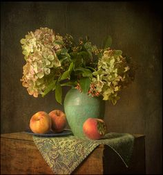 ❀ Blooming Brushwork ❀ - garden and still life flower paintings - Still life with peaches by Leenda K