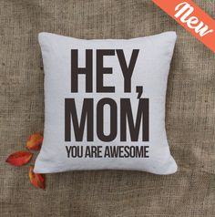 Custom pillow -Mothers day- Home is where your mom is- gift. $24.00, via Etsy.