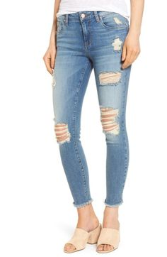 Free shipping and returns on BP. Ripped Crop Skinny Jeans at Nordstrom.com. Act like you're too cool to care in these destroyed skinnies grunged up with prominent whiskering, threadbare holes and raw, fraying hems.