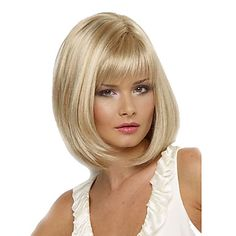 Women Bob Short Cosplay Straight Synthetic Hair Wigs Blonde Full Bang Heat Resistant   – USD $ 12.99