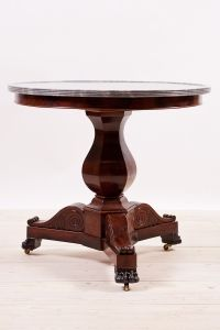 Antique French Charles X Center Table in Mahogany , c. 1830