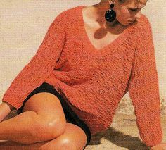 Ce bon vieux pull tube: Pull d'été femme, col V, tricoté aux aiguilles