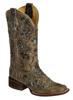 Corral Studded Turquoise Leather Inlay Cowgirl Boots - Square Toe available at #Sheplers