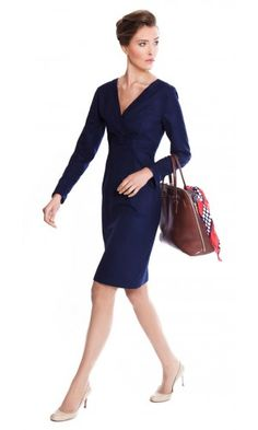 The navy strip dress for work made from Super 140s pure wool | The Julie by NOOSHIN
