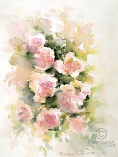 Les roses - étude à l'aquarelle (Peinture),  26x36x0,1 cm par Fabienne Monestier Etude d'un rosier rose à l'aquarelle. Cette aquarelle est peinte sur du papier Arches grain torchon, 300g.