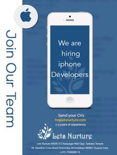 @letsnurture is hring #iphone & #andriod #devlopers in #ahmedabad Email your CV on hr@letsnurture.com