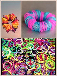 Rainbow loom worm level very easy