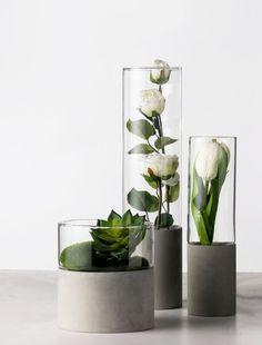 Nordic Minimalist Concrete cement succulent glass pot, minimal home decor infoor planter - Diy furniture modern Cement Art, Concrete Cement, Concrete Furniture, Concrete Crafts, Concrete Design, Concrete Planters, Modern Furniture, Glass Planter, Furniture Removal