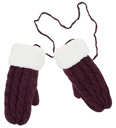 Womens Winter Fur Neck Hanging Thick Knitted Warm Gloves *** You can get additional details at the image link. (This is an affiliate link)