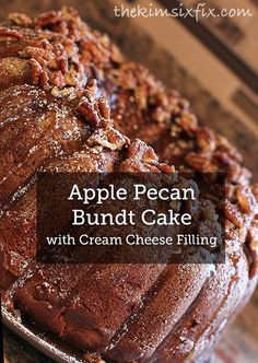 A Cream Cheese Filling makes this Apple Pecan Bundt Cake go from good to great! Bake this cake recipe and serve it to your guests. They'll love the crunchy streusel and moist cake.