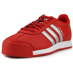 Adidas Adidas Samoa Round Toe Leather Sneakers (£52) ❤ liked on Polyvore featuring men's fashion, men's shoes, men's sneakers, red, shoes, mens red shoes, adidas mens sneakers, mens leather sneakers, adidas mens shoes and mens red sneakers