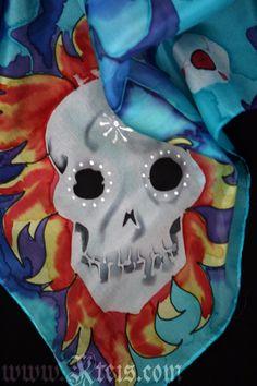 skulls, sugar skull, halloween, day of the dead, silk scarf, skull scarf, goth fashion, goth scarf