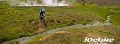 A single track following a hot stream through green valleys and geothermal hot springs. Bubbling mud pools and steaming sulphur vents. Optional soak in the steamy river  #MountainBiking #Iceland #thingstodo #icelandicthingstodo #hotsprings