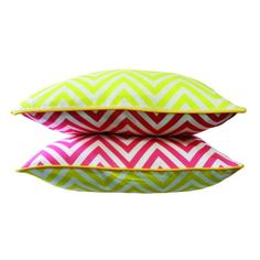 Lemon & Watermelon chevron cushions - xavierandme.com