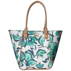 Emma Fox Magnolia North/South Tote (Aqua Floral) Tote Handbags ($51) ❤ liked on Polyvore featuring bags, handbags, tote bags, blue, white tote, white handbags, vegan tote, tote handbags and floral tote